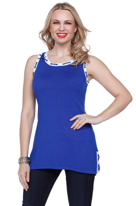 Sleeveless Tunic With Laced Grommet Detail