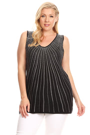 V-neck Sleeveless Pull Over with Radiating Rhinestone Design - Plus Size