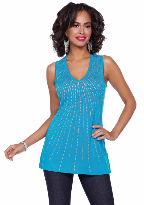 V-neck Sleeveless Pull Over with Radiating Rhinestone Design