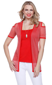 Short Sleeve Cold Shoulder Open Cardigan With Sheer Stripes & Tank