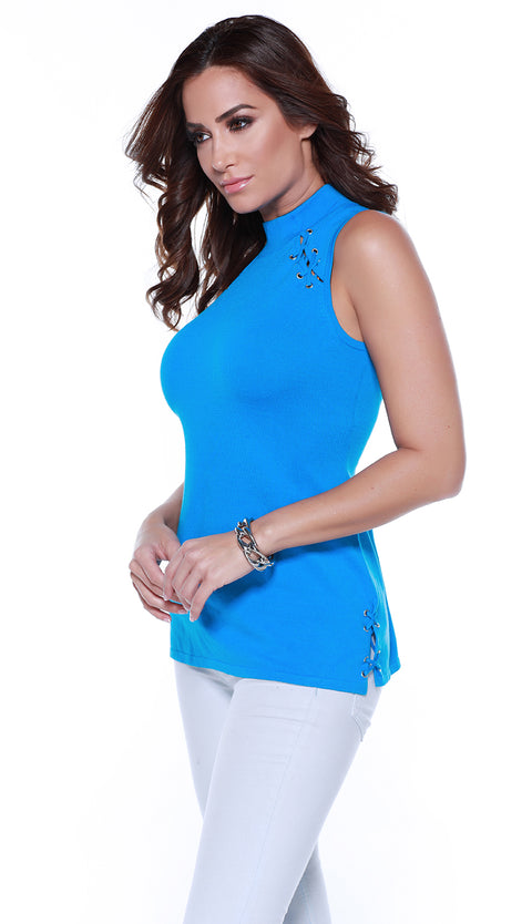 Sleeveless Hi Collar Pull Over With Lacing On Shoulders & Sides