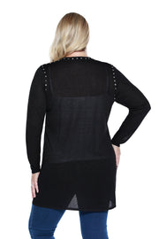 Women's Patch Pocket Cardigan with Metal Rhinestud Detail - Curvy