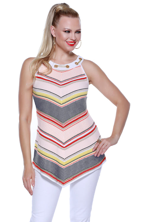 Stripe V-shape Tunic Tank With Rhinestone Grommet