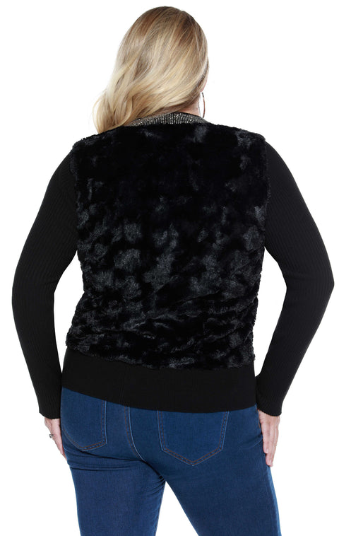 Long Sleeve Faux Fur Cardigan with Rhinestone Collar and Zipper - Plus Size