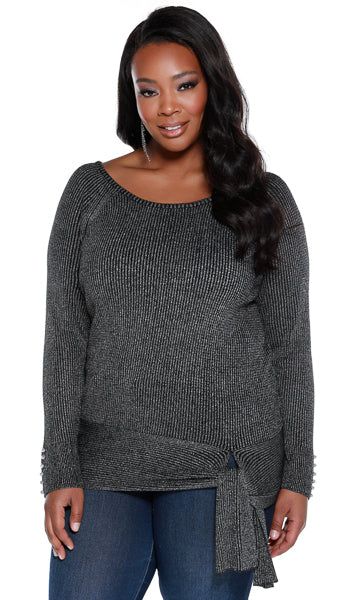 Metallic Pullover Top with Side-Tie Detail - PLUS SIZE