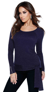 Metallic Pullover Top with Side-Tie Detail