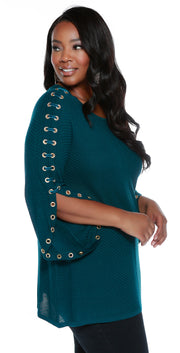 Raglan Sleeve Pullover with Rhinestone Grommets and Velvet Laced Sleeves - Plus Size