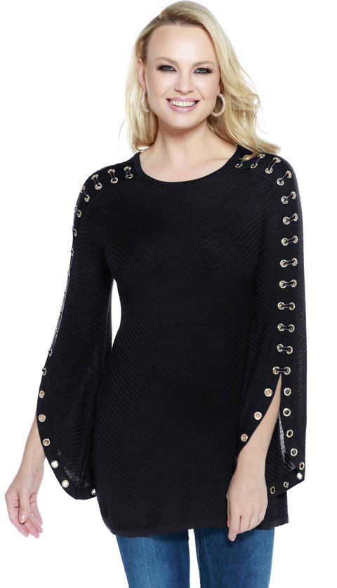 Raglan Sleeve Pullover with Rhinestone Grommets and Velvet Laced Sleeves