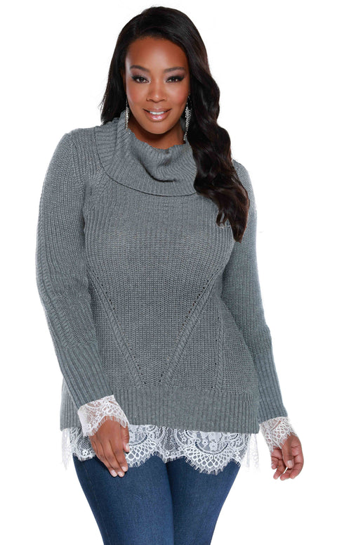 Long Sleeve Cowl Neck Pullover with Computerized Stitch and Lace Hem - Plus Size