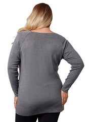 Long Sleeve Pullover with Laced Cutouts Front and Shoulders - Plus Size