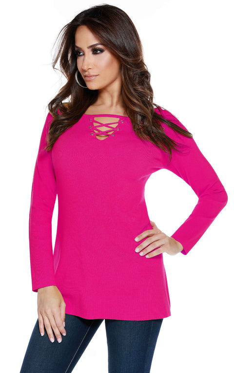 Long Sleeve Pullover with Laced Cutouts Front and Shoulders