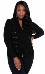 Zip Cardigan with Grommet and Lace-Up Detail - PLUS SIZE