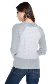 Braided Mockneck Pullover with Brushed Front and Back