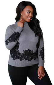 Long Sleeve Mockneck Pullover with Lace Applique - Plus Size