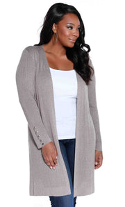 Metallic Duster with Side Slits & Button Cuffs - PLUS SIZE