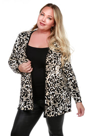 Animal Print Open Cardigan with Conrast Tipping - PLUS SIZE