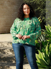 Women's Long Sleeve Floral Blouse with Back Keyhole | Curvy