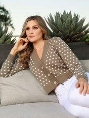 Women's Long Sleeve Polka Dot Button Front Sweater
