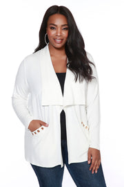 Soft French Terry Drape Cardigan with Pockets - PLUS SIZE