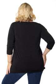 3/4 Sleeve A-Line Tunic with Stud Detail - PLUS SIZE