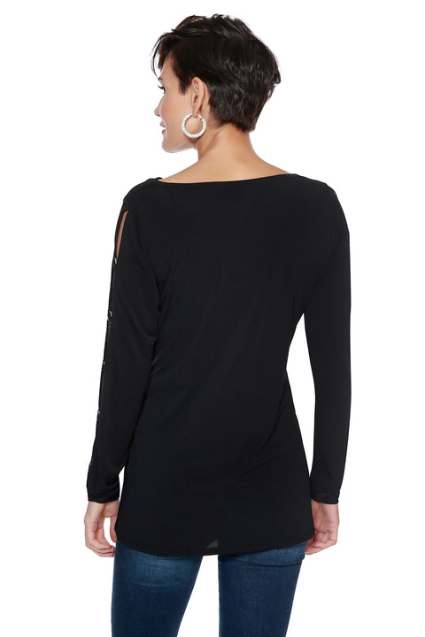 Drape Neck Top with Peakaboo Sleeves