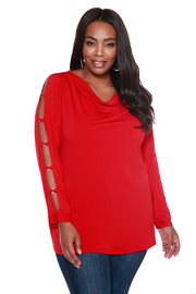 Drape Neck Top with Peakaboo Sleeves - PLUS SIZE