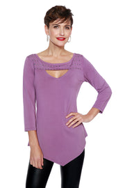 3/4 Sleeve Peakaboo Tunic with Studded Yoke