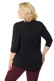 3/4 Sleeve Peakaboo Tunic with Studded Yoke - PLUS SIZE
