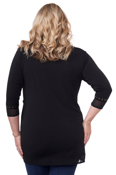 3/4 Sleeve Top With Front Side Tie - Plus Size