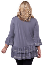3/4 Sleeve Pull Over With Ruffle & Grommet Detail - Plus Size