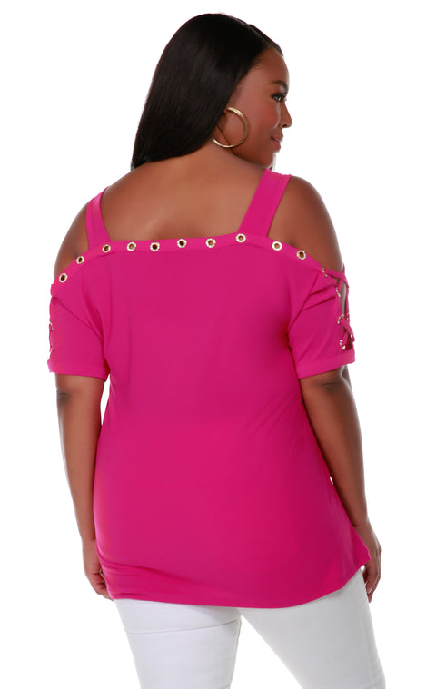 Short Sleeve Top With Gold Rhinestone Lace Up Detail - PLUS SIZE