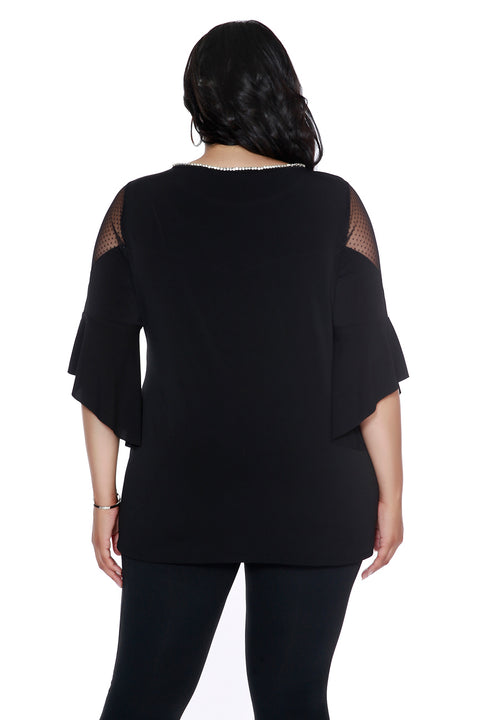 Women's Flutter Sleeve Top with Dotted Illusion Mesh - Curvy