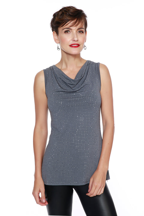 Embellished Drape-Neck Tank Top