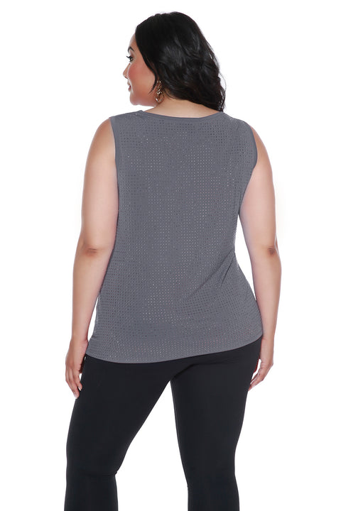 Embellished Drape-Neck Tank Top - PLUS SIZE