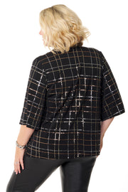 Sequin Plaid Kabuki Cardigan - PLUS SIZE