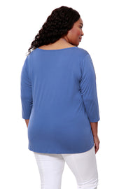 Long Sleeve Top With Front Twist Knot - PLUS SIZE