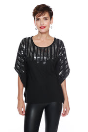 Flowy Poncho-Style Top with Sequins