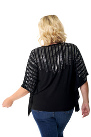 Flowy Poncho-Style Top with Sequins - PLUS SIZE