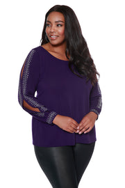 Blouson Peakaboo Sleeve Top with  Embellishment - PLUS SIZE