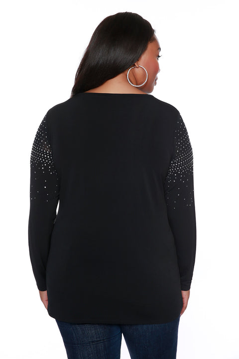 Variegated Sparkle Top with Illusion Detail - PLUS SIZE