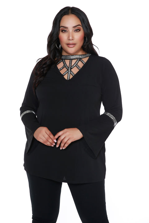 Bell Sleeve Tunic with Embellished Cut-Out Detail - PLUS SIZE