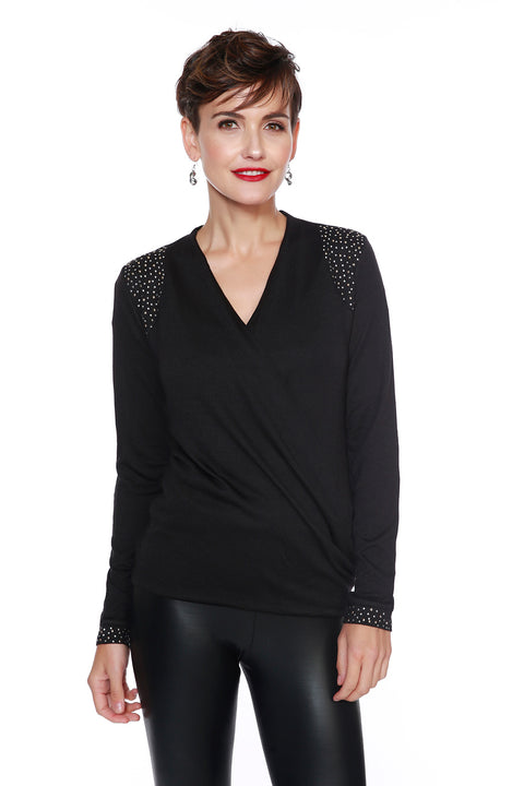 Drape Top with Rhinestud Details