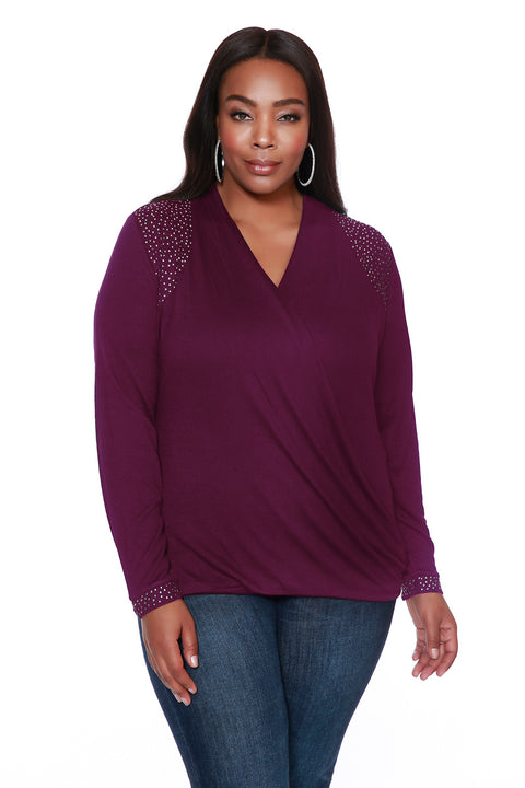Drape Top with Rhinestud Details - PLUS SIZE