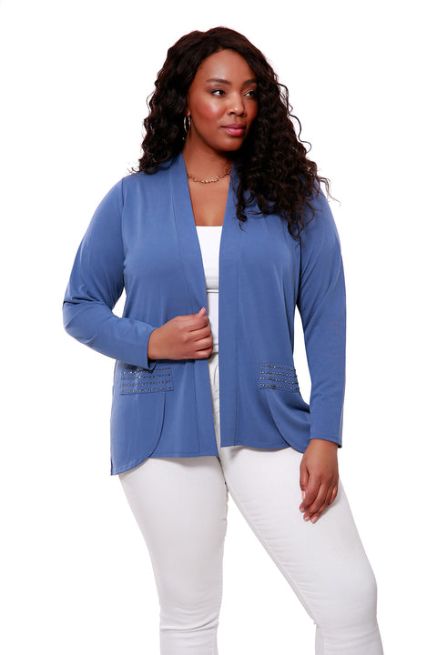 Long Sleeve Suede Jersey Open Cardigan - PLUS SIZE