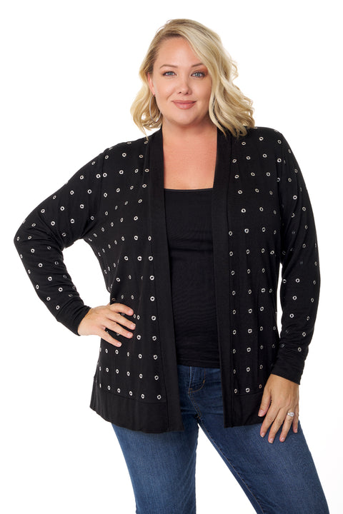 Soft French Terry Swing Cardigan with Grommets - PLUS SIZE