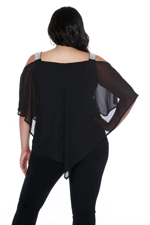 Rhinestone Strap Cold-Shoulder Mixed Media Top - PLUS SIZE