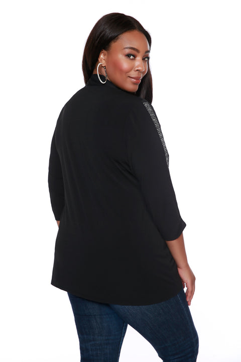 Swing Cardigan with Sparkle Detailing on Sleeves - PLUS SIZE