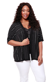 Heatseal Embellished Open Cardigan - PLUS SIZE