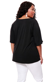 3/4 Bell Sleeve Pull Over With Crochet Trim - PLUS SIZE