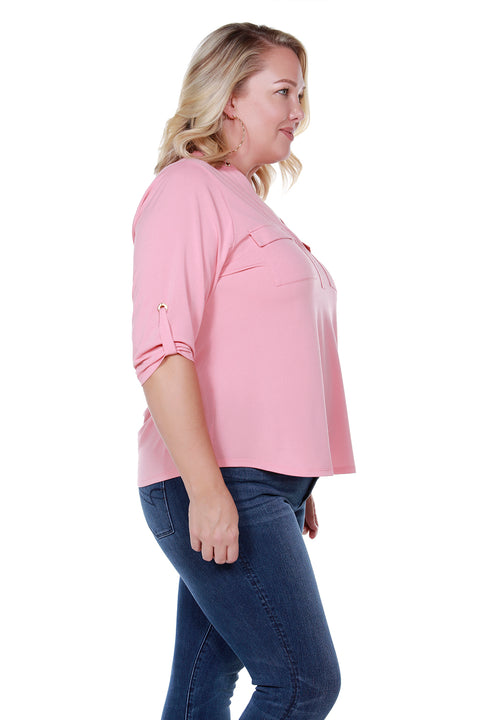 Grommet Neck With Patch Pocket Top - PLUS SIZE